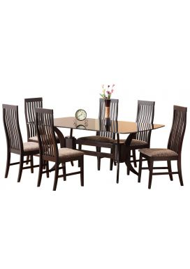 CRISTA GLASS DINING TABLE - 6X3.5 + EVA LT CHAIR
